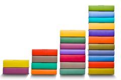 Diagramme créatif d'histogramme fait de livre coloré d'isolement sur le blanc Image stock