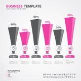 Diagramme d'éléments d'Infographics avec 6 étapes, options, illustration de vecteur, 3d icône rectangulaire, présentation, public images stock