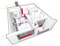 Diagramme d'appartement avec le chauffage de radiateur et le chauffe-eau de gaz Photographie stock