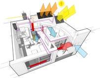 Diagramme d'appartement avec le chauffage de radiateur et le chauffe-eau de gaz et les panneaux solaires photovolta?ques et et la illustration stock