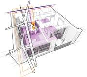 Diagramme d'appartement avec le chauffage par le sol et relié aux turbines de vent Images stock