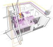 Diagramme d'appartement avec le chauffe-eau de chauffage par le sol et de gaz et relié aux turbines de vent illustration libre de droits