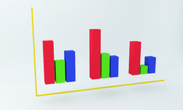 diagramme 3D coloré financier rendu 3d Photos libres de droits