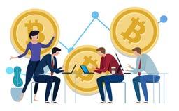 Diagramme d'or de Bitcoins vers le haut de fond Graphique de la croissance du prix travail d'équipe sur la surveillance de gestio illustration de vecteur