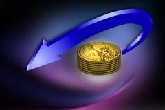 diagramme 3d des pièces de monnaie d'or avec une flèche Photographie stock