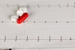 Diagramme d'EKG avec des pilules Photo stock