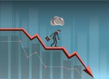 Diagramme d'On Falling Down d'homme d'affaires illustration de vecteur
