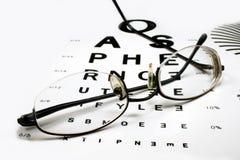 Diagramme d'oeil avec des lunettes Photographie stock
