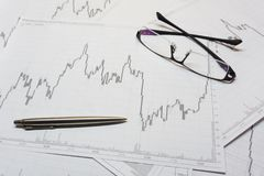 Diagramme d'opérations boursières Photo stock