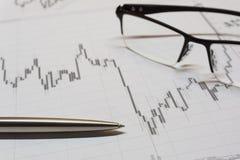 Diagramme d'opérations boursières Photos stock