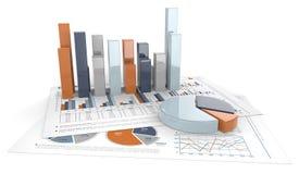 Diagramme 3D und Diagramme Stockfoto
