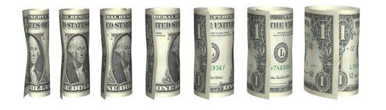 Diagramme de billets d'un dollar dans le blanc Photo stock