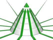 Diagramme de cône vert-blanc avec les flèches vertes Images libres de droits