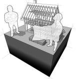 Diagramme de cadre de maison avec l'architecte et le client illustration libre de droits