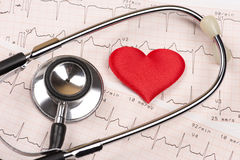 Diagramme de cardiogramme avec le coeur et le stéthoscope Photo libre de droits
