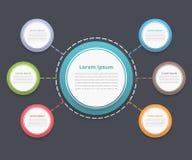 Diagramme de cercle avec six éléments Images libres de droits