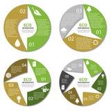 Diagramme de cercle d'écologie, infographic rond Concept de nature avec 2, 3, 4, 6 options Image stock