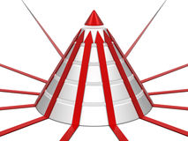 Diagramme de cône avec les flèches rouges Photographie stock libre de droits
