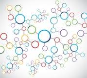 Diagramme de connexion réseau d'atomes de couleur Images stock