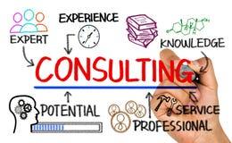 Diagramme de consultation de concept avec des éléments d'affaires Images stock
