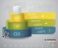diagramme de 3 couches d'étapes Élément abstrait simple et editable de conception illustration stock