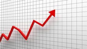 Diagramme de croissance avec la flèche rouge montant sur le fond blanc illustration libre de droits