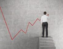 Diagramme de dessin d'homme d'affaires des actions Images stock