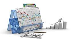 Diagramme de finances d'affaires, tableau, bar, dessin