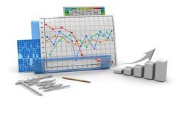 Diagramme de finances d'affaires, tableau, bar, dessin Images libres de droits