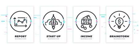 Diagramme de Glitched, démarrage, argent, icônes d'idée réglées illustration de vecteur