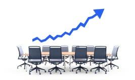 Diagramme de graphique de flèche au-dessus d'une table de conférence photographie stock libre de droits