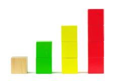 Diagramme de graphique de statistiques commerciales. Blocs constitutifs en bois Photo libre de droits