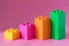 Diagramme de Lego sur le fond rose Image stock