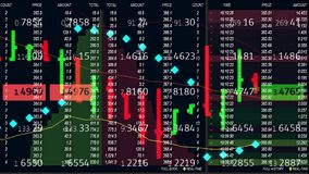 Diagramme de marché boursier de forex et bande de panneau de ticker sur le fond - mouvement dynamique animé d'affaires financière illustration stock