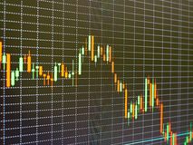 Diagramme de marché boursier, graphique sur le fond noir Photos stock