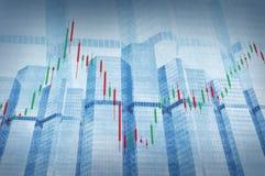 Diagramme de marché boursier sur la tour bleue Photographie stock libre de droits
