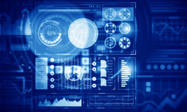 Diagramme de marché boursier sur le fond bleu Media mélangé Images stock