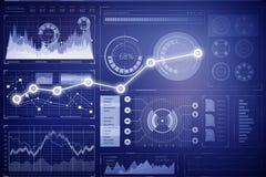 Diagramme de marché boursier sur le fond bleu Media mélangé Photo stock