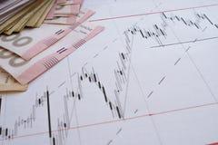 Diagramme de marché boursier sur les diagrammes de forex et l'écran en ligne vivant d'argent Photo stock