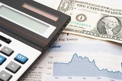 Diagramme de marché boursier, vers le bas, pertes Images stock