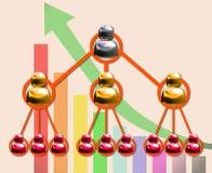 Diagramme de marketing à plusieurs niveaux et flèche accédante Photos stock