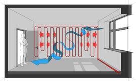 Diagramme de pièce passionnée de mur avec la flèche de ventilation naturelle Photo stock