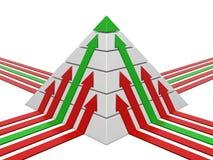 Diagramme de pyramide avec des flèches Photos libres de droits