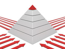 Diagramme de pyramide rouge-blanc Images stock