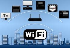 Diagramme de réseau de Wi-Fi avec des dispositifs Photos libres de droits