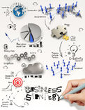 Diagramme de stratégie commerciale de dessin de main Photo libre de droits