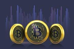 Diagramme de taux de change de cryptocurrency de Bitcoin sur le marché boursier Images libres de droits