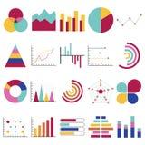 Diagramme der kommerziellen Daten Finanz- und Marketing-Diagramme Vermarkten Sie Elementpunktstangenkreisdiagrammdiagramme und -d vektor abbildung