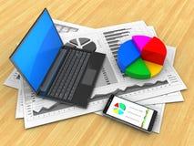 Diagramme des Geschäfts 3D lizenzfreie abbildung