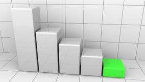 Diagramme descendant abstrait avec la dernière barre verte Concepts de baisse ou de crise d'affaires rendu 3d Images libres de droits